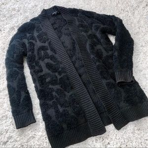 Express Sweaters - Express Cozy Leopard Cardigan Size S